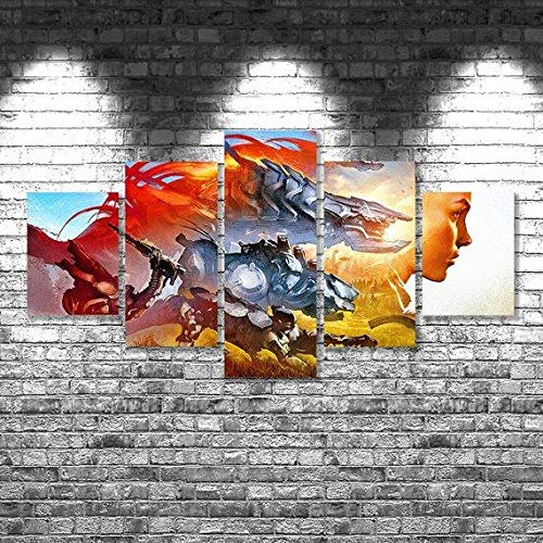 Canvas Prints Canvas Pictures XXL 5 Pieces Horizon Zero Dawn 3 – Gaming HD Printed 5 Pieces Canvas Wall Art Painting Modular Wallpaper Poster Print Modern Living Room Home Decor-100*55cm-Marco