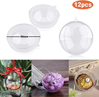 StillCool Clear Fillable Ornaments Ball, Pack of 12 Individual 60mm Craft Christmas Ornament Baubles