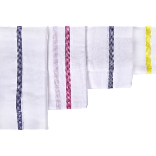 """looms & weaves - 5 White Bath Towels - Big Towel (62"""" X 32"""") (Highly Water Absorbent, Super Soft, Easy to Dry & Very Thin) (Any 5 Borders as per Availability)"""