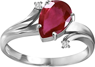 Galaxy Gold 1.51 Carat 14k Solid White Gold Ring with Genuine Diamonds and Natural Pear-Shaped Ruby