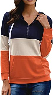 Womens Long Sleeve Half Zipper Color Block Pullover Sweatshirt Hoodie Tops with Pocket