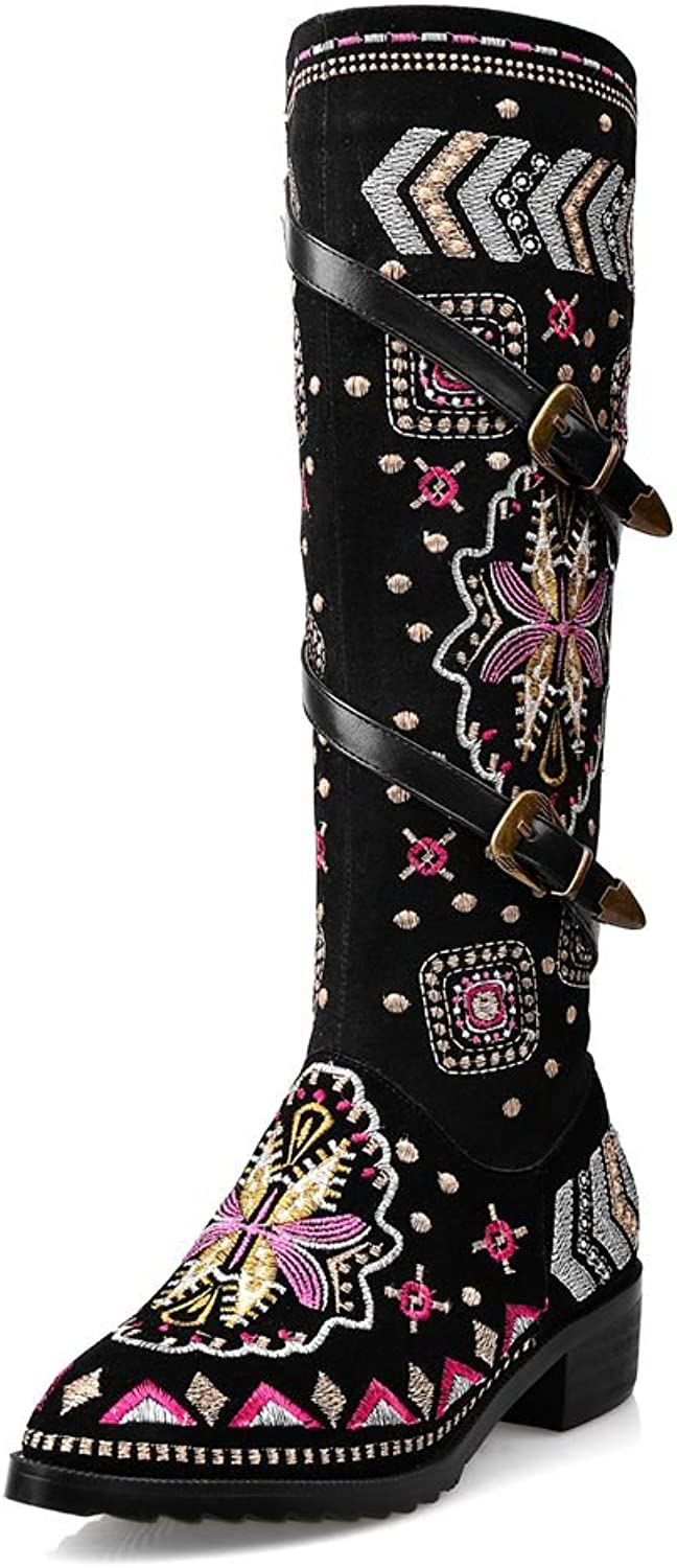 SaraIris Buckle Floral Embroidery Zipper Square Heels Ethnic Knee High Boots for Women