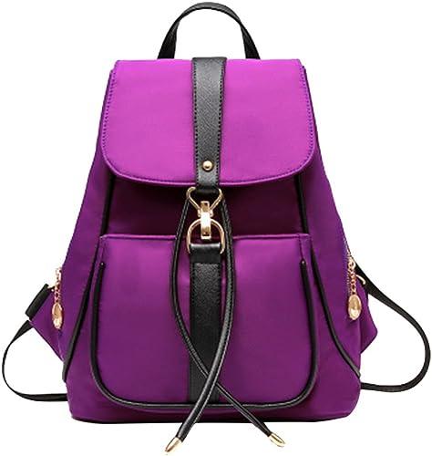 Drasawee Miss filles Tissu Oxford imperméable classique style preppy sac épaules école Collège Voyage sac à dos sac à dos sac à dos Décontracté Sac à dos Pourpre violet 331527cm