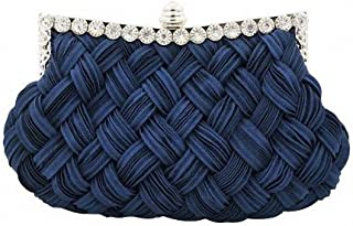 Afibi Women's Evening Bridesmaid Clutch Jeweled Pleated Cocktail Party Handbag One Size Navy Blue