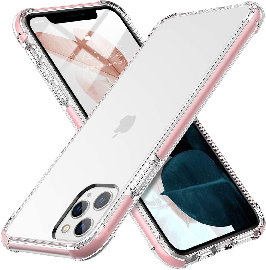 MILPROX iPhone 11 Pro Case, Crystal Clear Thin Slim Shell Anti-Yellow Anti-Slippery Shockproof Protective Bumper Cover Case for iPhone 11 Pro 5.8 Inch (2019)-Pink