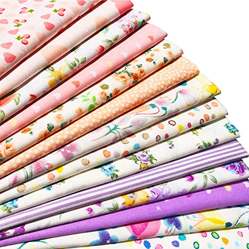 flic-flac 20 x 20 inches (51cmx51cm) Fat Quarter Natural Cotton Quilting Fabric Thick Craft Printed Fabric High Density Bundle Squares Patchwork Lint DIY Sewing (14pcs, Pattern C)