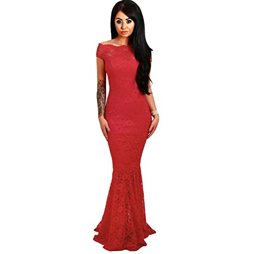 4691ecfe08f shelovesclothing Women s Off The Shoulder Bardot Lace Fishtail Maxi Dress  Evenings Weddings