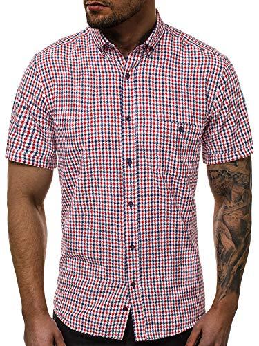 OZONEE Herren Hemd Freizeithemd Shirt Langarm Tailored Fit Flanellhemd Langarmhemd Langärmliges Slim Fit Freizeit Business Männer Jungen Trachtenhemd V/K105 M
