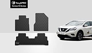 ToughPRO Floor Mats Set (Front Row + 2nd Row) Compatible with Nissan Murano - All Weather - Heavy Duty - (Made in USA) - Black Rubber - 2015, 2016, 2017, 2018, 2019, 2020