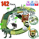 Dinosaur Train Set, Electric Cars Toy Set for Kids , 142 Piece Slot Car Race Dinosaur Tracks Set, Flexible Tracks Playset, 3 4 5 6 7 8 Year Old Boy Toys,Gift for Toddler, Kids