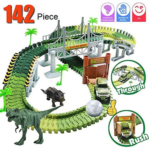 Dinosaur Train Set, Electric Cars Toy Set for Kids , 142 Piece Slot Car Race...