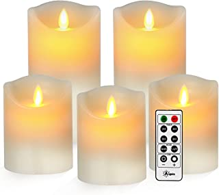 Aignis Flameless Candles, Battery Candles Realistic Moving Flame Set of 5 (D3.25 xH44466) Flickering Candles with 10 Key Remote Timer (Ivory)