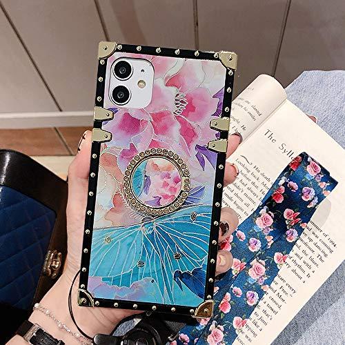 Capa compatível com iPhone 11 Pro Max 6,5 polegadas, Babemall premium retrô elegante padrão floral Blu-Ray capa protetora de quatro cantos com suporte - linda flor/rosa