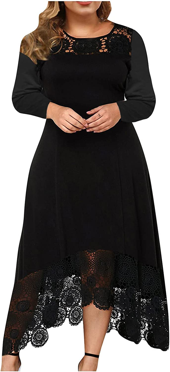 Dresses That Hide Belly Fat Plus Size Women Sexy O-Neck Irregular Hem Lace Splicing Solid Long Sleeve Pullover Party Dress