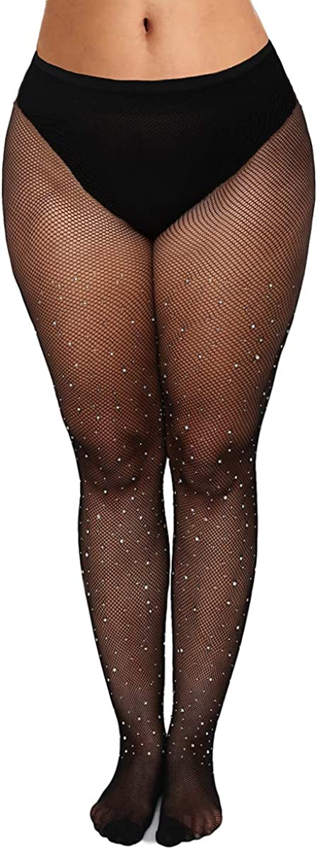 Womem's Sexy Sparkly Fishnet Tights Plus Glittery Rhinestones Stockings Thigh highs