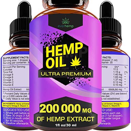 Everhemp - Hemp Oil Drops 200 000 MG - Effective Pain Reliever - Made in USA - Zero CBD, Zero THC (1oz/30lm)