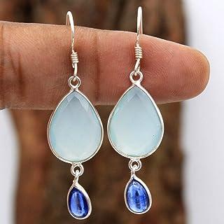 Orecchini pendenti in argento sterling con pietre preziose calcedonio per donne e ragazze, orecchini con castone per orecc...