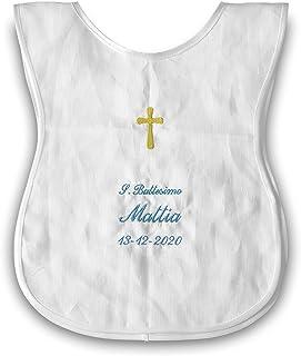 Crociedelizie, camicino camicina camiciola veste vestina battesimale personalizzata lino ricamata battesimo