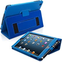 Snugg iPad Mini 1 and Mini 2 Case Leather Smart Case Cover Apple iPad Mini 1 and Mini 2 Protective Flip Stand Cover with Auto Wake / Sleep Electric Blue