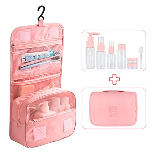 JoicyCo Travel Toiletry Bag Extra Large Multifunctional Waterproof Business Trip Cosmetic Makeup Organiser Bags Case Shower Wash Bag with Hook-Air Travel Bottles Set Pink