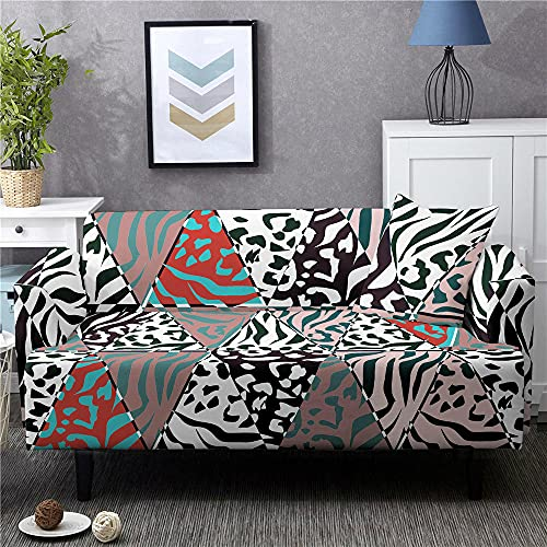 Funda Sofas 2 y 3 Plazas Leopardo Gris Fundas para Sofa con Diseño Elegante Universal,Cubre Sofa Ajustables,Fundas Sofa Elasticas,Funda de Sofa Chaise Longue,Protector Cubierta para Sofá
