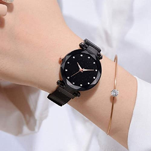 Casual Designer Black Dial Magnet Watch for Girls Women