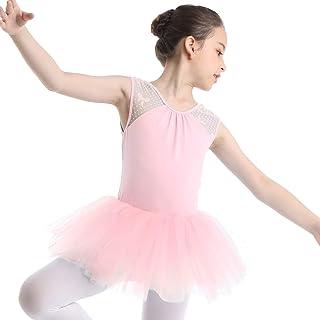65dc20aa70c IEFIEL Enfant Fille Tutu Robe de Danse Justaucorps Ballet Gym Robe de  Soirée Bal Fête sans