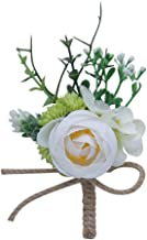 S_SSOY Boutonniere Corsage Flower Bridegroom Groom Men's Brooch Boutonniere Groomsmen Best Man Boutineer with Pin for Wedding Prom Homecoming Party Ivory Pack of 4