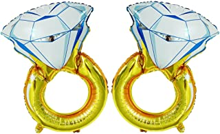 GOER 2 Pcs Diamond Engagement Ring Mylar BalloonsGiant 45 inch Helium Balloons for Bridal Shower Bachelorette Party Supplies