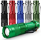 6 Pack LED Mini Flashlights 7W 300LM SK-68 3 Modes Adjustable Focus Zoomable Q5 LED Tactical Flashlight for Camping Hiking Emergency (Six Color Pack)