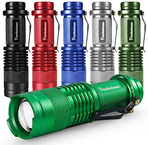 6 Pack LED Mini Flashlights 7W 300LM SK-68 3 Modes Adjustable Focus...
