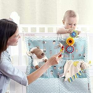 Sensecrol Baby Diaper Organizer Crib Cabin Bedside Pocket Hanging Storage Bag Perfect Bedside Caddy for Baby Crib Cot Cloth Tidy Crib Organizer