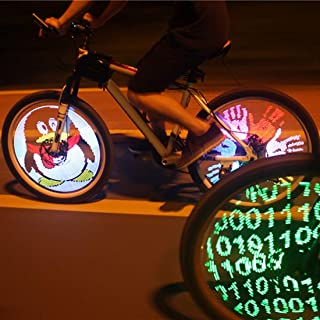 Dawwoti YQ8003 DIY Programmable Bicycle Spoke Bike Wheel LED Light Double Sided Screen Display Image for Night Cycling