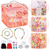 PP OPOUNT Jewelry Making Bead Kit Includes Over 1200 Pieces Beads, 10 Pieces Charms, 50 Pieces Jewelry...