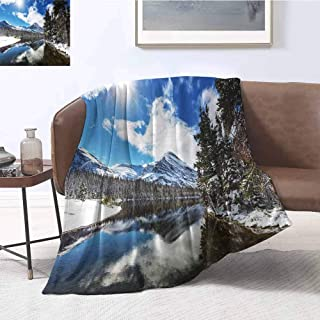 Luoiaax Winter Bedding Microfiber Blanket Tranquil View of Glacier National Park in Montana Water Reflection Quiet Peaceful Super Soft and Comfortable Luxury Bed Blanket W91 x L60 Inch