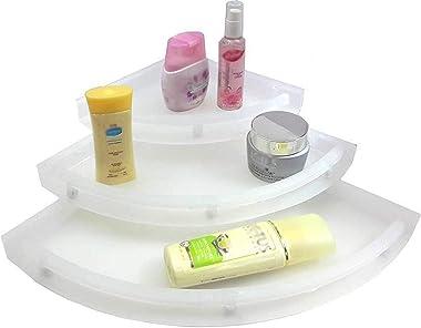 Digionics Plastic Bathroom Corner Shelf Set of 3 Plastic Wall Shelf (Number of Shelves - 3) Size 5*7*9 (White)