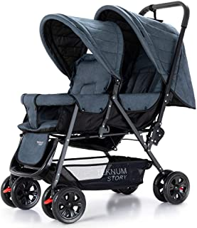 Teknum Double Twin Baby Stroller Pram|Shock Proof|Wide Seat and Canopy|360° Rotating Wheels|Big Basket|Fully Recylinable|N...
