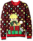 Blizzard Bay Men's Ugly Christmas Sweater Cat, Black/Yellow, Medium