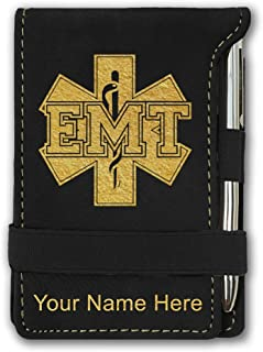 Mini Notepad, EMT Emergency Medical Technician, Personalized Engraving Included (Black)