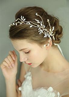 fxmimior - Tiara per capelli da donna, con strass e foglie, accessorio per capelli