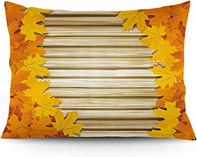 """GULTMEE Throw Pillow Cushion Cover, Fallen Leaves on Wooden Wall September Foliage Rustic Style Print, Decorative Standard Queen Size Printed Pillowcase, 14""""x20""""."""