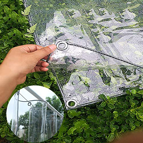 N / A Tarp Sheet Cover Transparent Tarp with Grommets, Waterproof PVC Clear Tarpaulin, Thicken Terrace Pergola Sheet Cover for Outdoor Indoor, 450g/650g(Color:0.5mm,Size:1.8×2m)