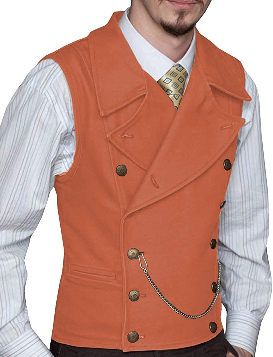 Mens Double Breasted Suit Slim Fit Vest Suede Lapel Waistcoat for Wedding Groomsmen