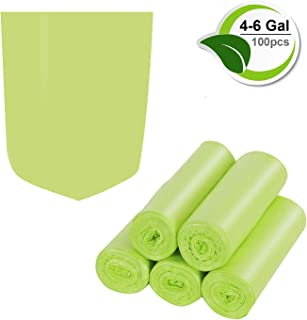 Inwaysin 4-6 Gallon Trash Recycling & Degradable Small Garbage Compostable Strong Rubbish Wastebasket Liners Bags for Kitchen Bathroom Office Car(100 Counts,Green)