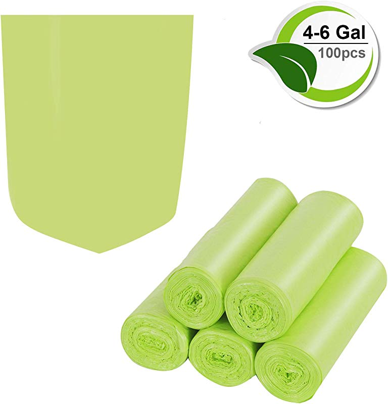 Inwaysin 4 6 Gallon Trash Recycling Degradable Small Garbage Compostable Strong Rubbish Wastebasket Liners Bags For Kitchen Bathroom Office Car 100 Counts Green