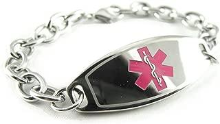 Custom Engraved Womens Medical Alert Bracelet, Steel O-Link Chain, Medium 6mm