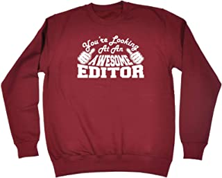 123t Funny Novelty Funny Sweatshirt - Editor Youre Looking at an Awesome - Sweater Jumper