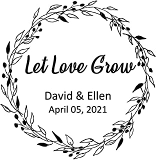 Let Love Grow Stamp Personalized Save The Date Wedding Stamps Self Inking Wreath Leaf Rubber Stamper