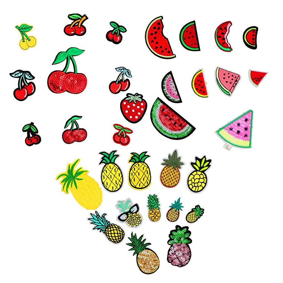 Assorted 32pcs Strawberry Pineapple Watermelon Iron on Patches Fruit Embroidered Appliques Decorative Repair Motif DIY Sew on Patches for Jeans Clothing
