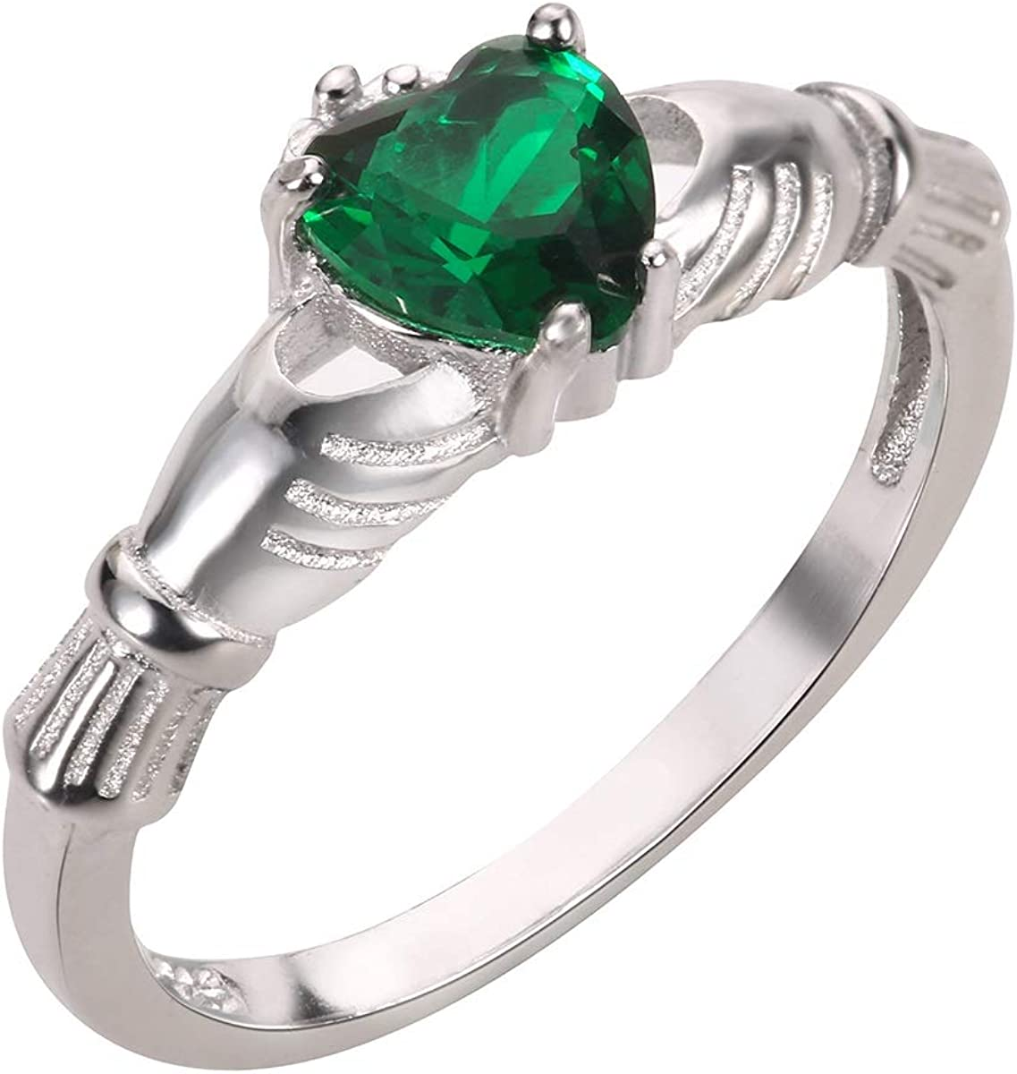CloseoutWarehouse Simulated Emerald Cubic Special price for a limited time Bene Seattle Mall Claddagh Zirconia